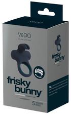 VeDO Frisky - akkus, nyuszis, vibrációs péniszgyűrű (fekete)