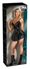 Black Level - fém csatos, rakott lakk ruha (fekete) [XL]