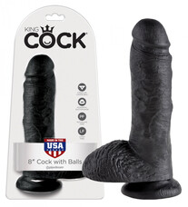 King Cock 8 herés dildó (20 cm) - fekete