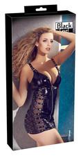 Black Level - necc betétes, csatos lakk ruha (fekete)