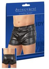 Fényes, rövid férfi short (fekete) [XL]