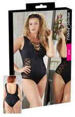 Cottelli Plus Size - oldalt fűzős fürdőruha (fekete) [L]