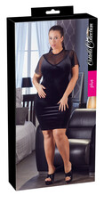 Cottelli Plus Size - rövidujjú bársony miniruha (fekete) [XL]