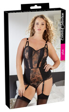 Cottelli Plus Size - virágos, harisnyatartós női body (fekete) [90F/XL]