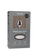 Easytoys Bunny NO1 - fém anál dildó nyuszifarokkal (ezüst-fehér)