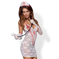 Obsessive - Csipke nővérke jelmez szett - fehér [S/M]
