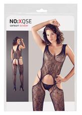 NO:XQSE - ujjatlan, mintás, nyitott overall tangával (fekete)