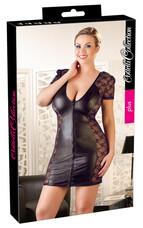Cottelli Plus Size - masnis, csipkés kombinált ruha (fekete) [3XL]