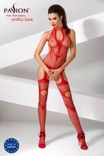 Passion BS053 - absztrakt mintás, nyakpántos necc szett (piros) - S-L