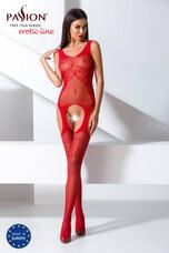 Passion BS061 - csavart-mintás, virágos necc szett (piros) - S-L
