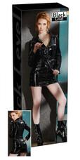 Hosszúujjú lakk kabátruha (fekete) [XL]