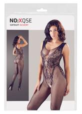 NO:XQSE - ujjatlan, nyitott necc overall, body optikával (fekete)