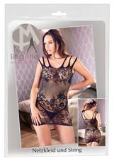 Mandy Mystery - triplapántos virágos necc ruha tangával (fekete)