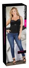 Cottelli Plus Size - női bársony felső strasszos övvel (fekete) [90F/XL]
