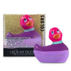 My Duckie Colors 2.0 - csíkos kacsa vízálló csiklóvibrátor (lila-pink)