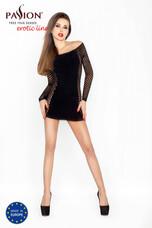 Passion BS025 - oldalt hálós, hosszúujjú miniruha (fekete) - S-L
