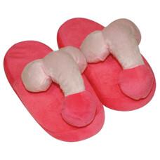 Plüss papucs rózsaszín - péniszformájú