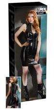 Ujjatlan, cipzáros, dekoltált lakk ruha (fekete) [XL]