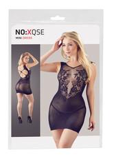 NO:XQSE - virágos, necc betétes ruha tangával (fekete)