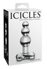 Icicles No. 47 - tripla gyöngyös, üveg anál dildó (áttetsző)