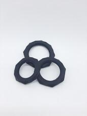 King Cock - szilikon péniszgyűrű szett (3db) - fekete