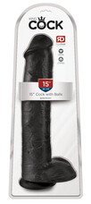 King Cock 15 - gigantikus, tapadótalpas, herés dildó (38cm) - fekete