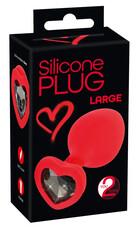 You2Toys Plug Large - fekete köves, szíves anál dildó (piros) - nagy