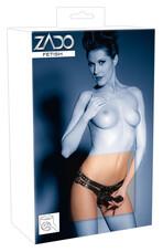 ZADO - valódi bőr alsó külső + 2 belső dildóval (fekete) [L/XL]