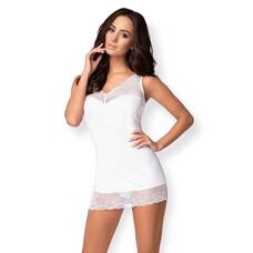 Obsessive Miamor - fehér köves, csipkés hálóruha tangával (fehér) [L/XL]