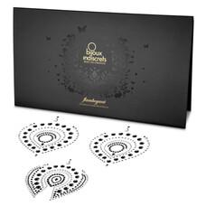 Csillogó gyémántok intim ékszer szett - 3 részes (fekete-ezüst)