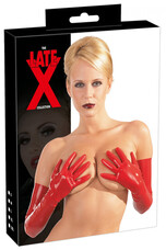 LATEX - hosszú, unisex kesztyű (piros) [S]