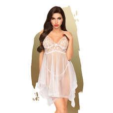 Penthouse Naughty Doll - aszimmetrikus, csipkés ruha tangával (fehér) [S/M]