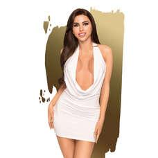 Penthouse Heart Rob - mélyen dekoltált ruha tangával (fehér) [M/L]