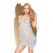 Penthouse Naughty Doll - aszimmetrikus, csipkés ruha tangával (kék) [L/XL]
