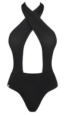 Obsessive Acantila - kivágott egyberészes fürdőruha (fekete) [-]