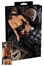 Cottelli Bondage - derékfűző és szemmaszk (fekete) [L]