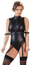Cottelli Bondage - ujjatlan, fényes body kézrögzítőkkel (fekete) [XL]