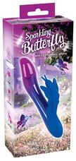 Sparkling Butterfly - akkus, csiklókaros vibrátor fényjátékkal (lila-kék)